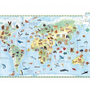 Puzle de 100 piezas con libro Animales del mundo