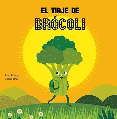 Sobre un fondo con una escena de campo, aparece un brócoli llevando una mochila